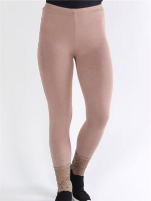 Alezia - Mudfarvet leggings med blonde og similisten