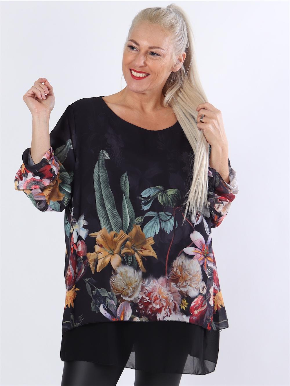 Gro - Sort tunika i chiffon med blomsterprint