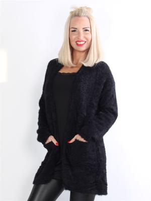 Gladys - Sort fluffy cardigan med lommer