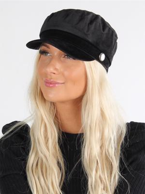 Falisha - Sort plain hat med skygge i velour