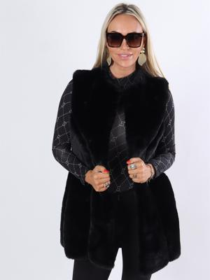 Mille - Sort blød faux fur vest