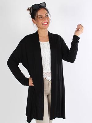 Rosa - Sort basis cardigan i jersey stof